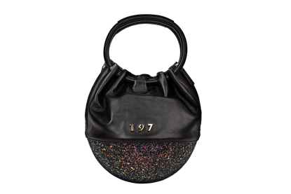 Egg Bag Ecofur Glitter Nero